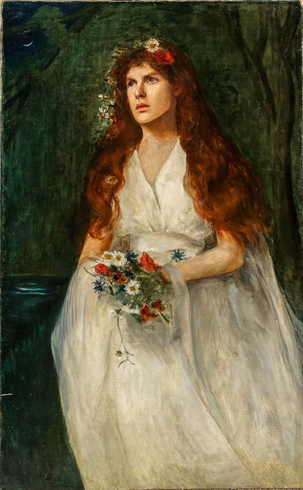 British School, 19th Century, Pre-Raphaelite Bride, Oil on Canvas, 51-1/4 x 32 in