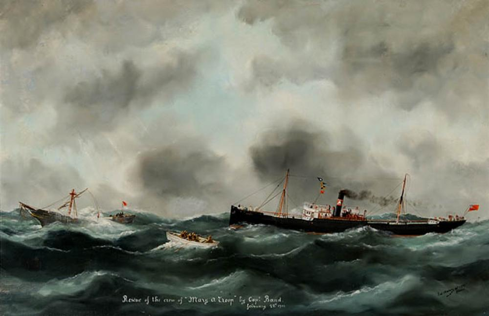 Victor Charles Edouard Adam (French 1868-1938), Rescue of the Crew of 'Mary A Troop', Oil on Canvas, 23-1/2 x 36 in