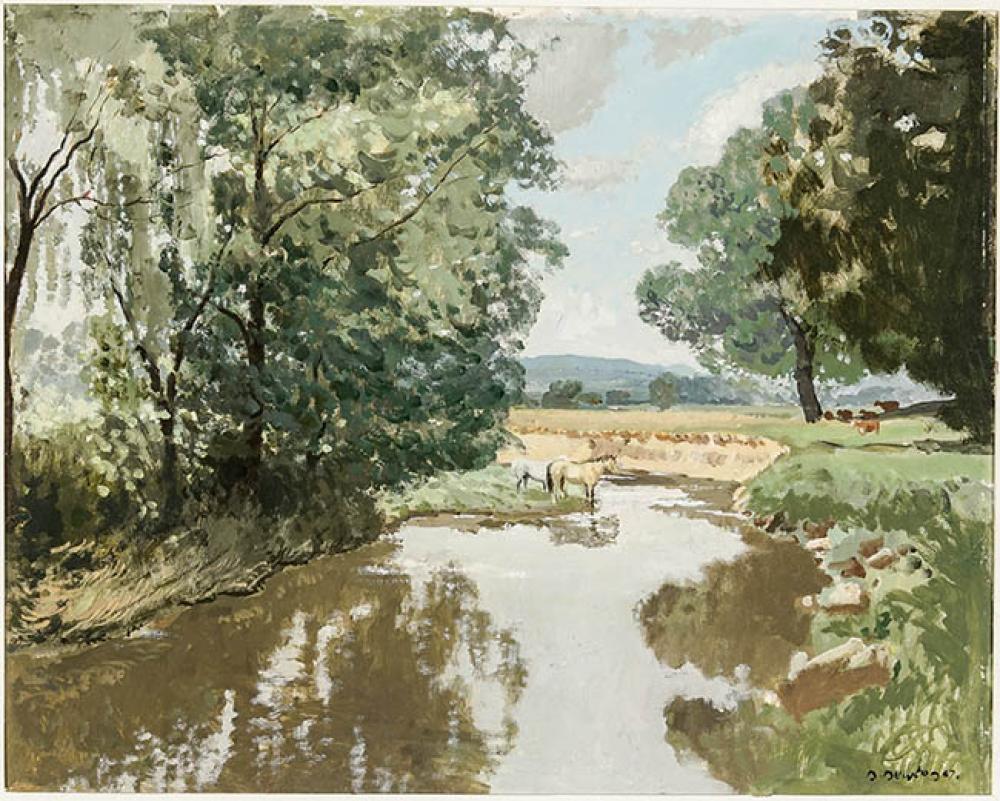 Nigel Ramsay Newton (British b. 1903), The Western Run and Maryland Landscape, Two Oils on Masonite, each 16 x 20 in