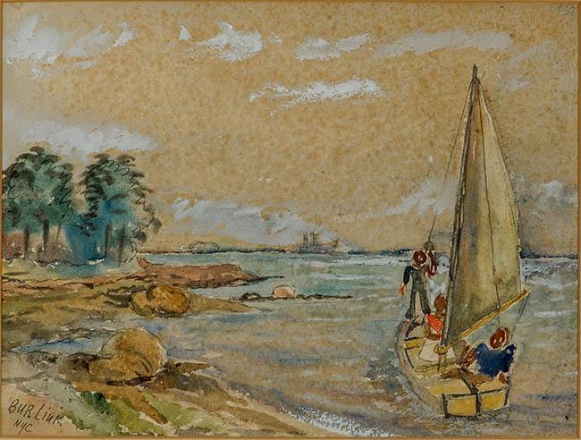 David Burliuk (Ukrainian 1882-1967), Figures in a Sailboat Along a Rocky Shoreline, Watercolor on Paper, 10-1/4 x 13-3/4 in