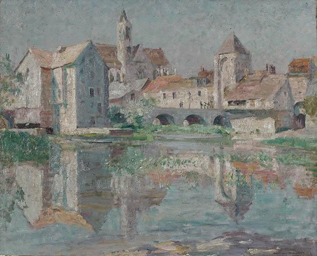 Cameron Burnside (American 1887-1952), Vue de Moret-sur-Loing, Oil on Canvas, 25-1/2 x 32 in
