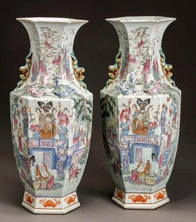 Pair of Chinese 'Famille Rose' Hexagonal Vases, Early 20th Century