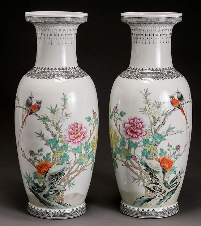 Pair of Chinese 'Famille Rose' Vases, Jingdezhen Seal Mark, Republic Period (1912-1949)