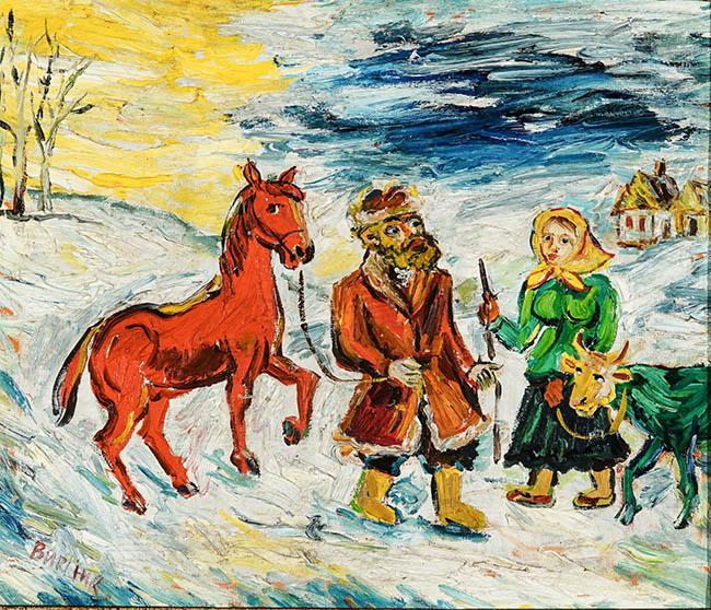David Burliuk (Ukrainian 1882-1967), Farmer and His Wife with Red Horse and Green Cows, Oil on Canvas, 20 x 24 in