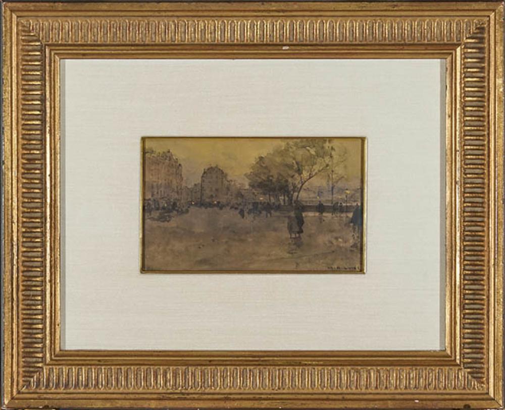 Luigi Loir (French 1845-1916), Les Quais de la Seine Sous la Pluie, Ink and Watercolor on Paper, 4-1/2 x 7-3/4 in