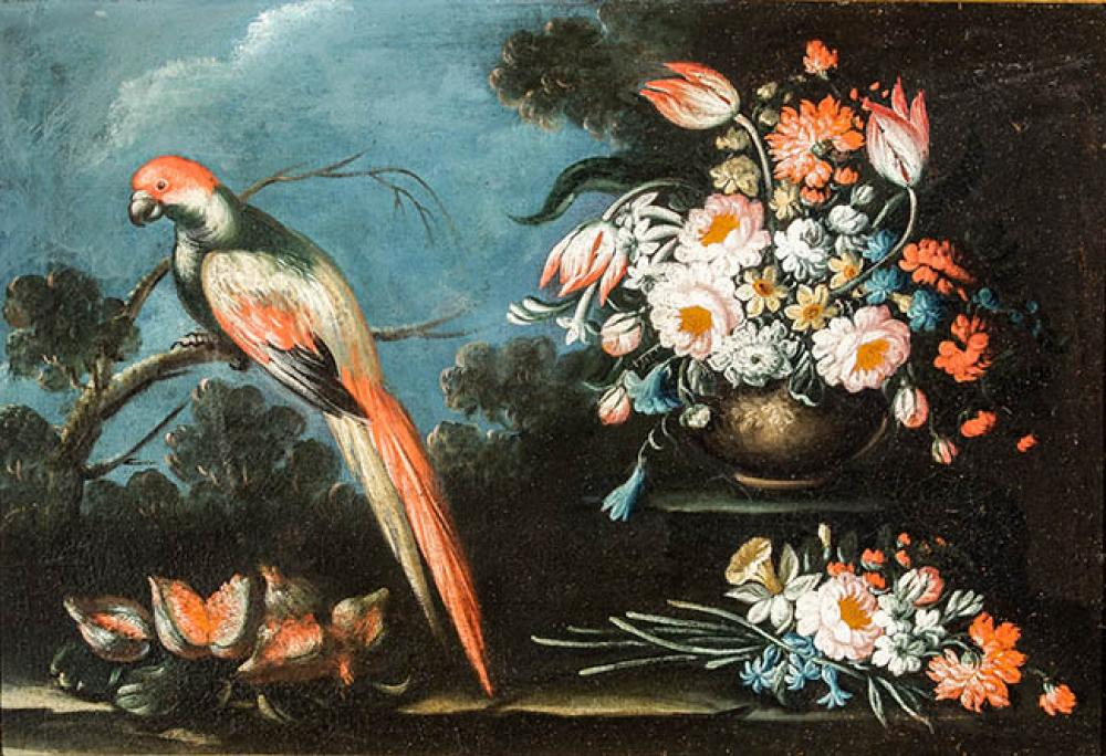 Dutch School, 17th Century, Still Life of Flowers with Parrot, Unframed Oil on Canvas, 26 x 37 in