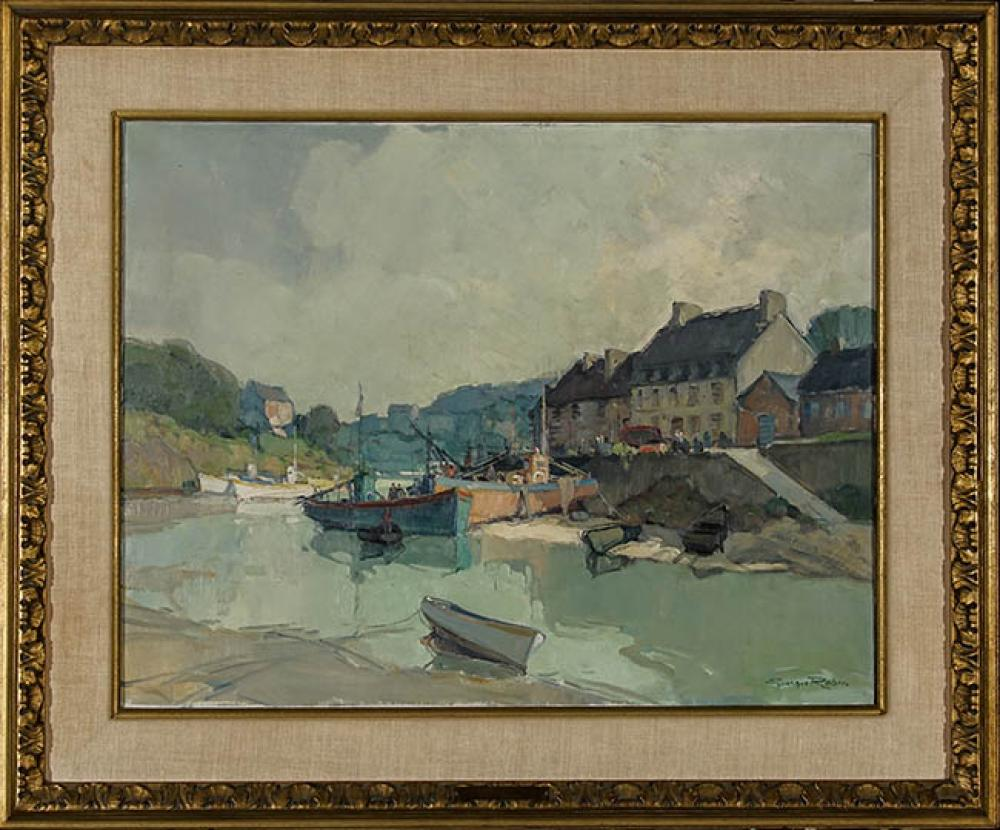 Georges Charles Robin (French 1903-2003), Estuary of the Seine, Oil on Canvas, 20 x 25-3/4 in