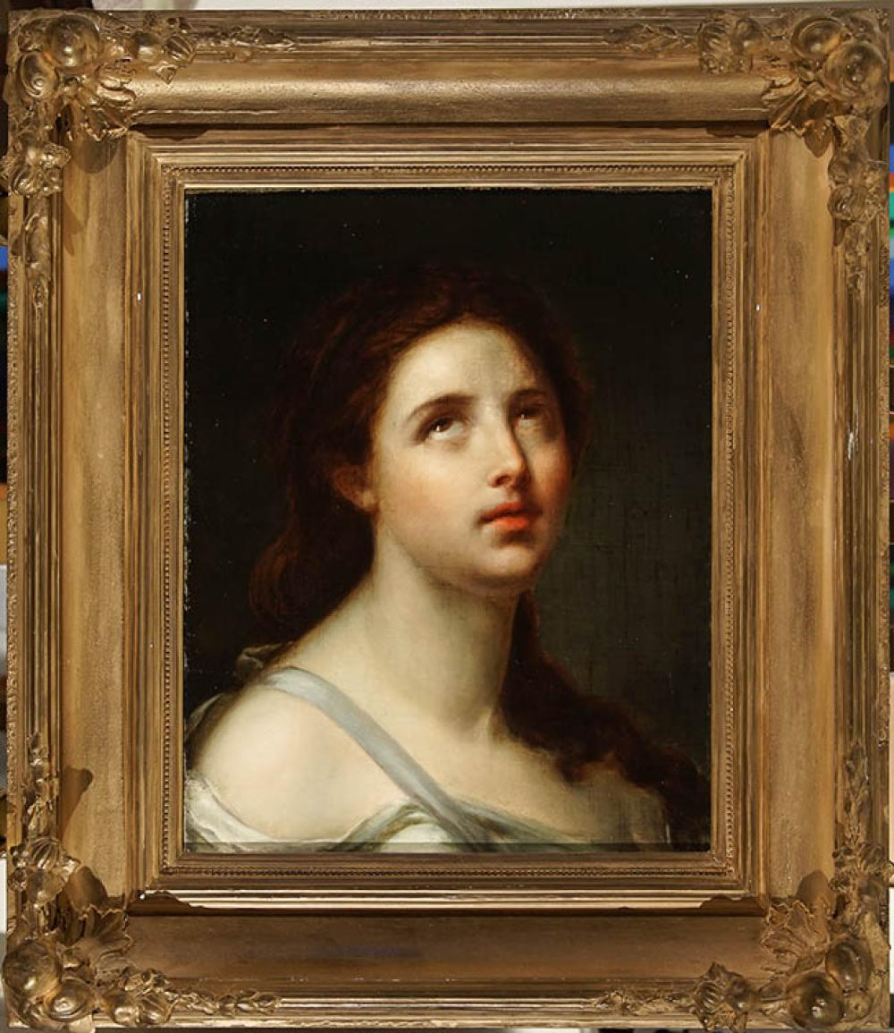 Manner of Guido Reni, 19th Century, Portrait of a Female Saint, Possibly St. Cecilia, Unsigned Oil on Canvas, 17 x 13-1/2 in