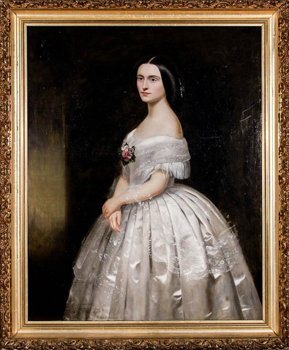 British School, Mid-19th Century, Portrait of Lady and Portrait of Gentleman, Two Oils on Canvas, each 50 x 40 in