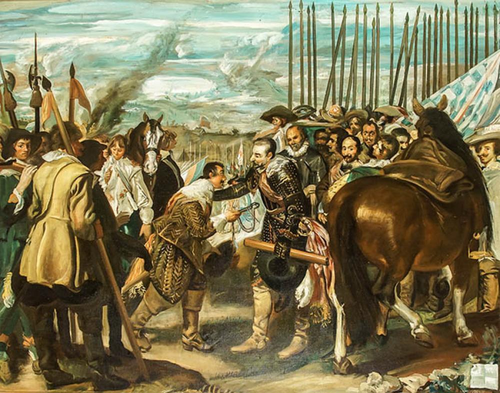 Joaquin Valverde (Spanish 1896-1982), The Truce, Oil on Canvas 48 x 61 in