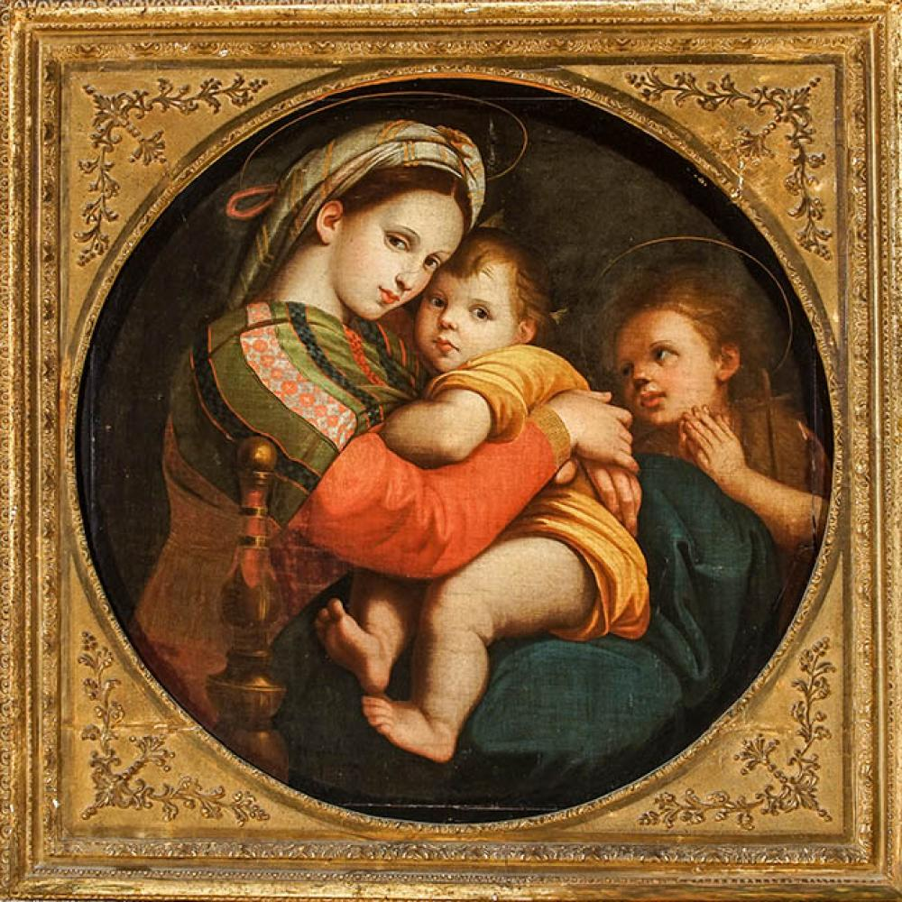 After Raffaello Sanzio da Urbino, 19th Century, Madonna della Sedia, Oil on Canvas framed in the round, 28-1/2 x 29 in