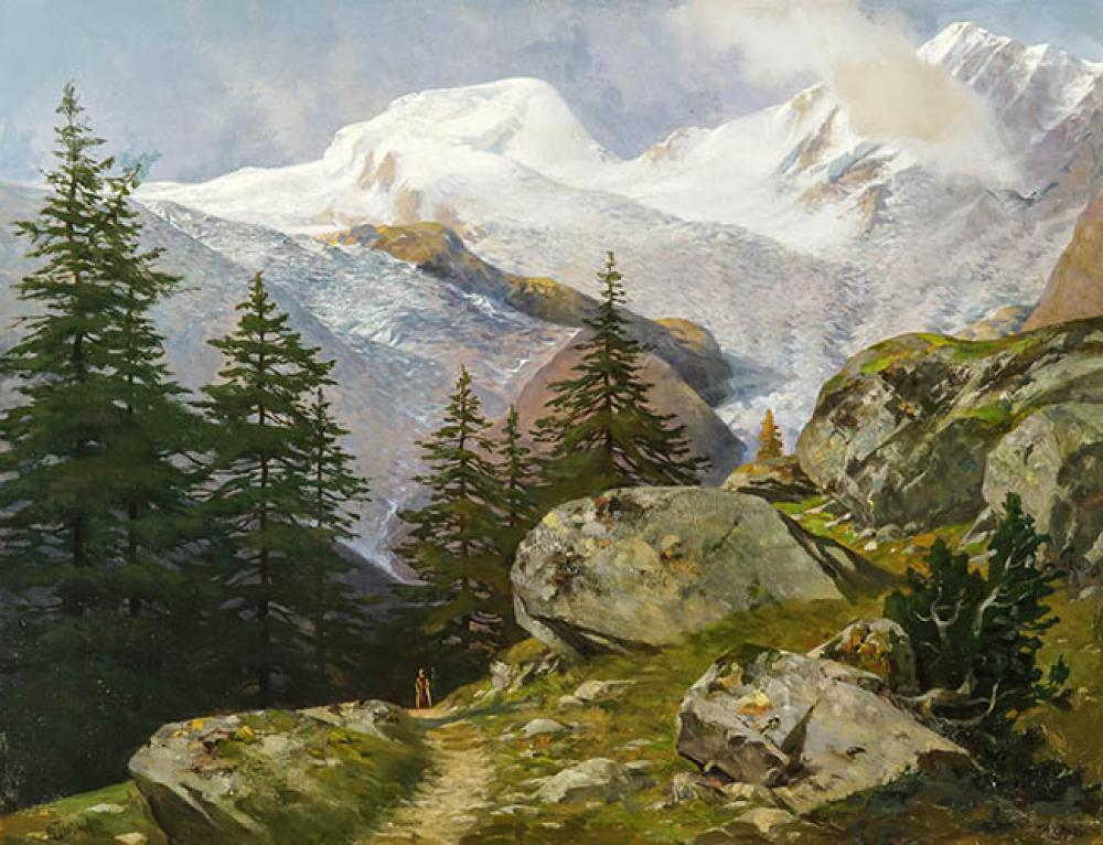 Josef Thoma The Younger (Austrian 1828-1899), Figure in the Alps, Oil on Canvas, 20 x 26 in