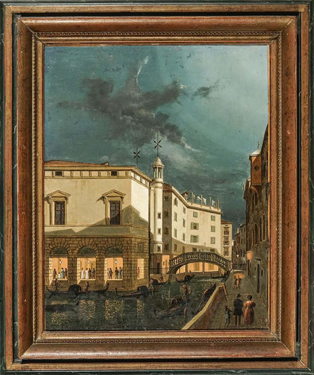 Vincenzo Chilone (Italian 1758-1839), Evening Street Scene, Venice, Oil on Canvas, 19 x 15 in