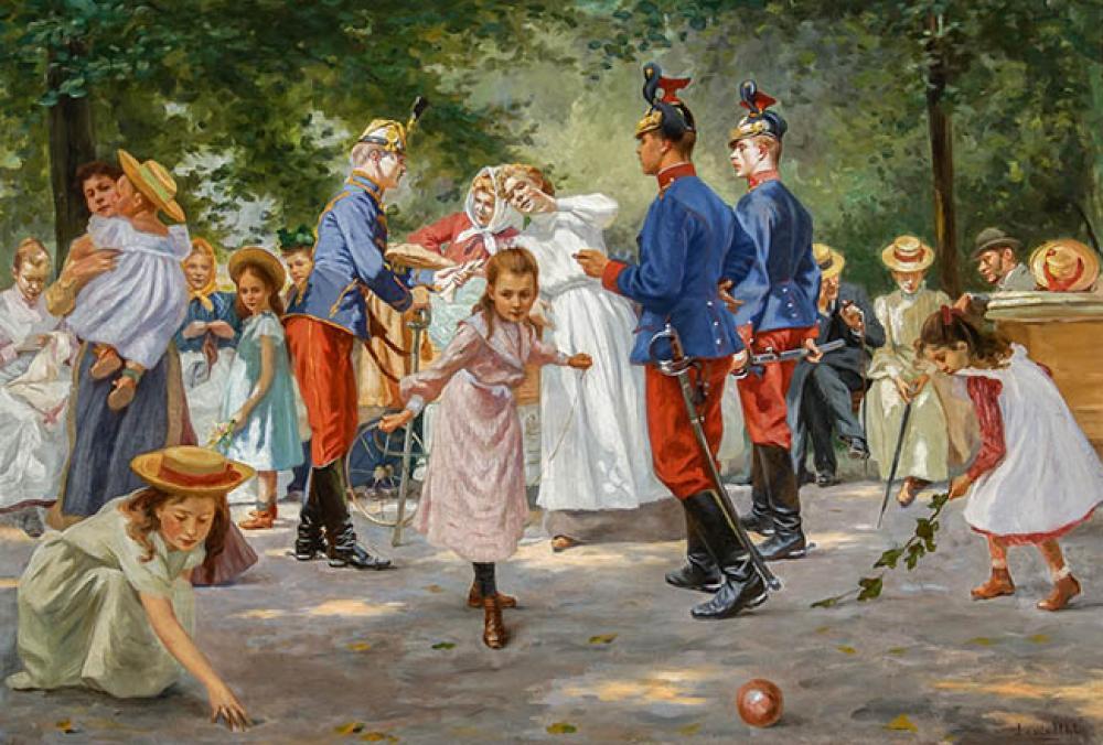 Louis Uhl (Austrian 1860-1909), Ein Sonntag-Nachmittag im Kinderpark, Signed Oil on Canvas, 29-1/2 x 43-1/2 in