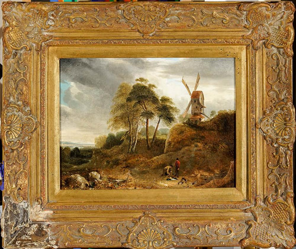 Attributed to Henry Bright (British 1810-1873), Landscape with Two Men Catching Rabbits, Oil on Canvas, 12 x 14-1/4 in