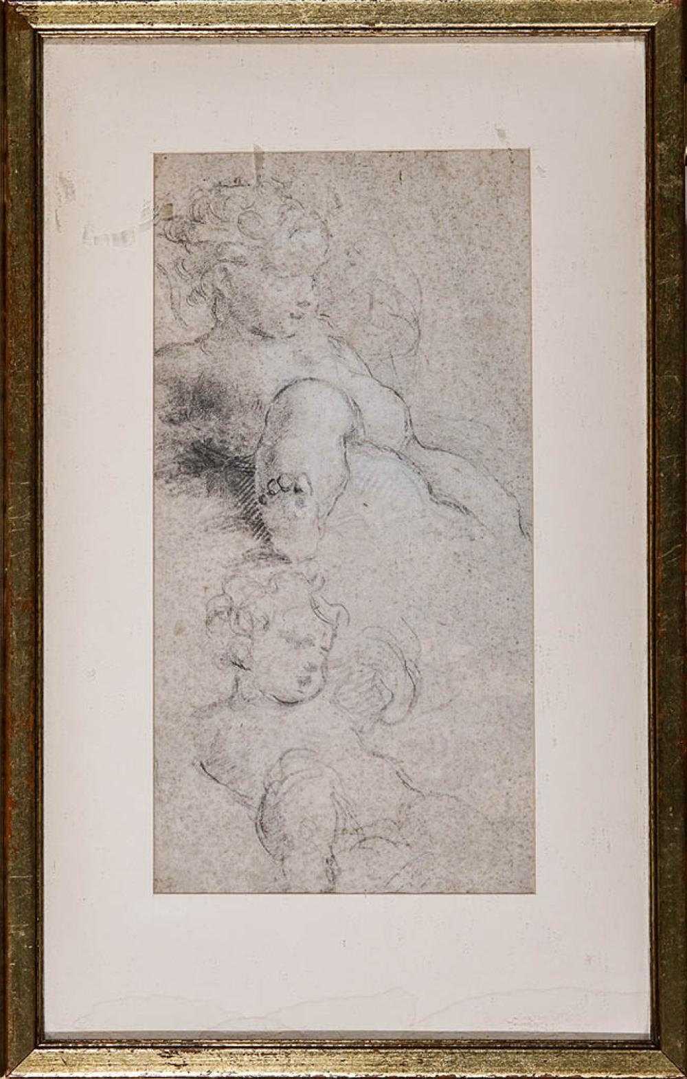 Circle of Antonio da Correggio (Italian 16th-17th Century), Study of Putti, Unsigned, Framed Graphite on Paper, 9-3/4 x 5 in