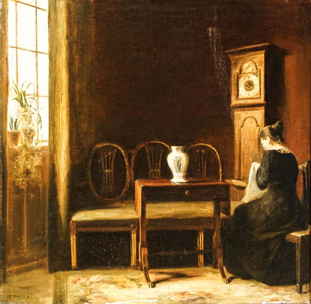 Carle Vilhelm Holsøe (Danish 1863-1935), Woman Sewing by a Window, Oil on Canvas, 22 x 22-1/2 in