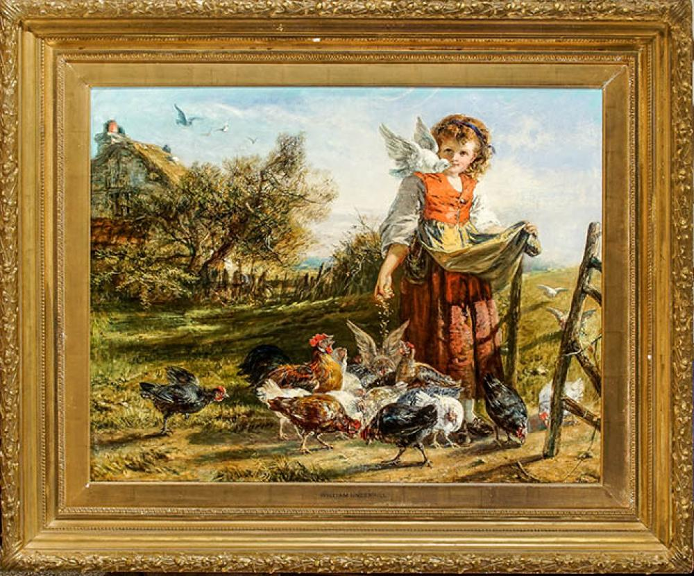 Attributed to William Underhill (British 1808-1908), Young Girl Feeding Chickens, Oil on Canvas, 28 x 36 in