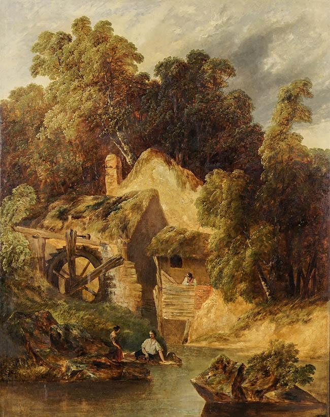 John White Abbot (British 1763-1851), By the Old Mill, Oil on Canvas, 56 x 44 in