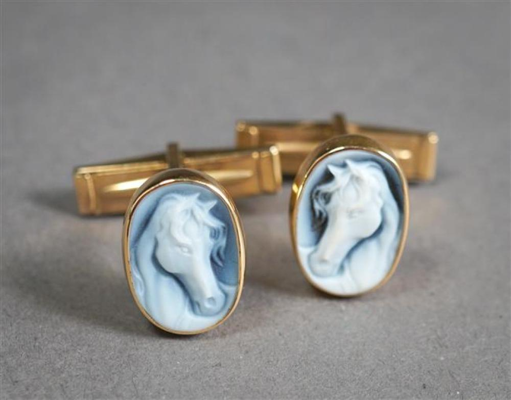 Pair of Gold Filled and Carved Blue Agate Cameo 'Horse' Cufflinks