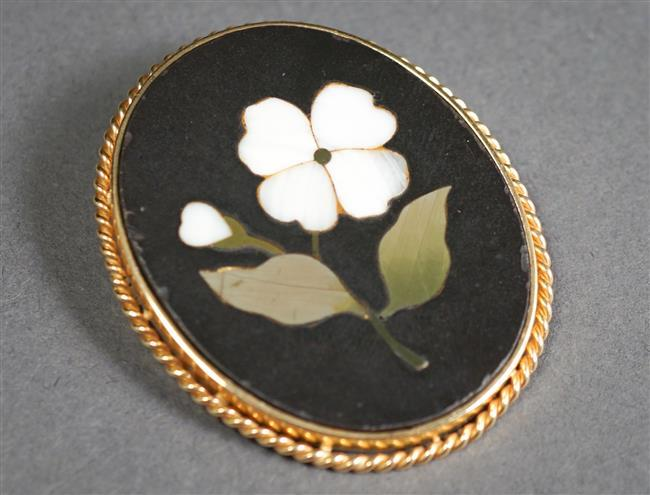 Tested 14-Karat Yellow-Gold Mounted Pietra Dura Brooch, 1-1/2 x 1-1/4 in