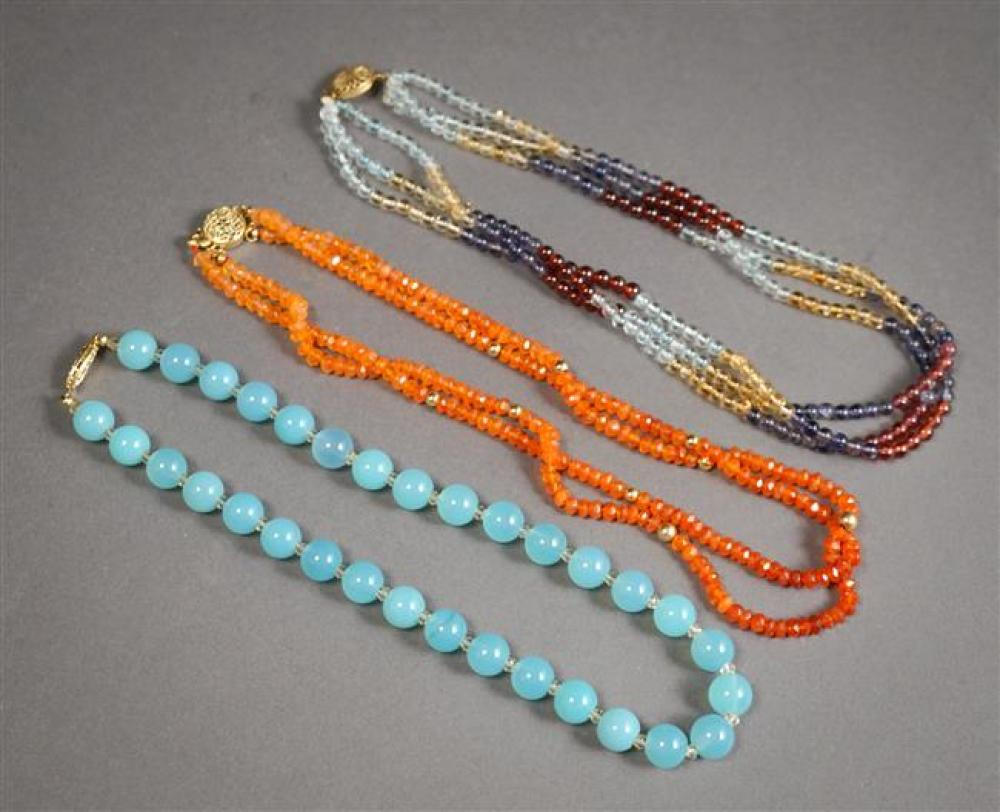 Three Gem Set Beaded Necklaces, Length: 15-1/2 to 15-3/4 in