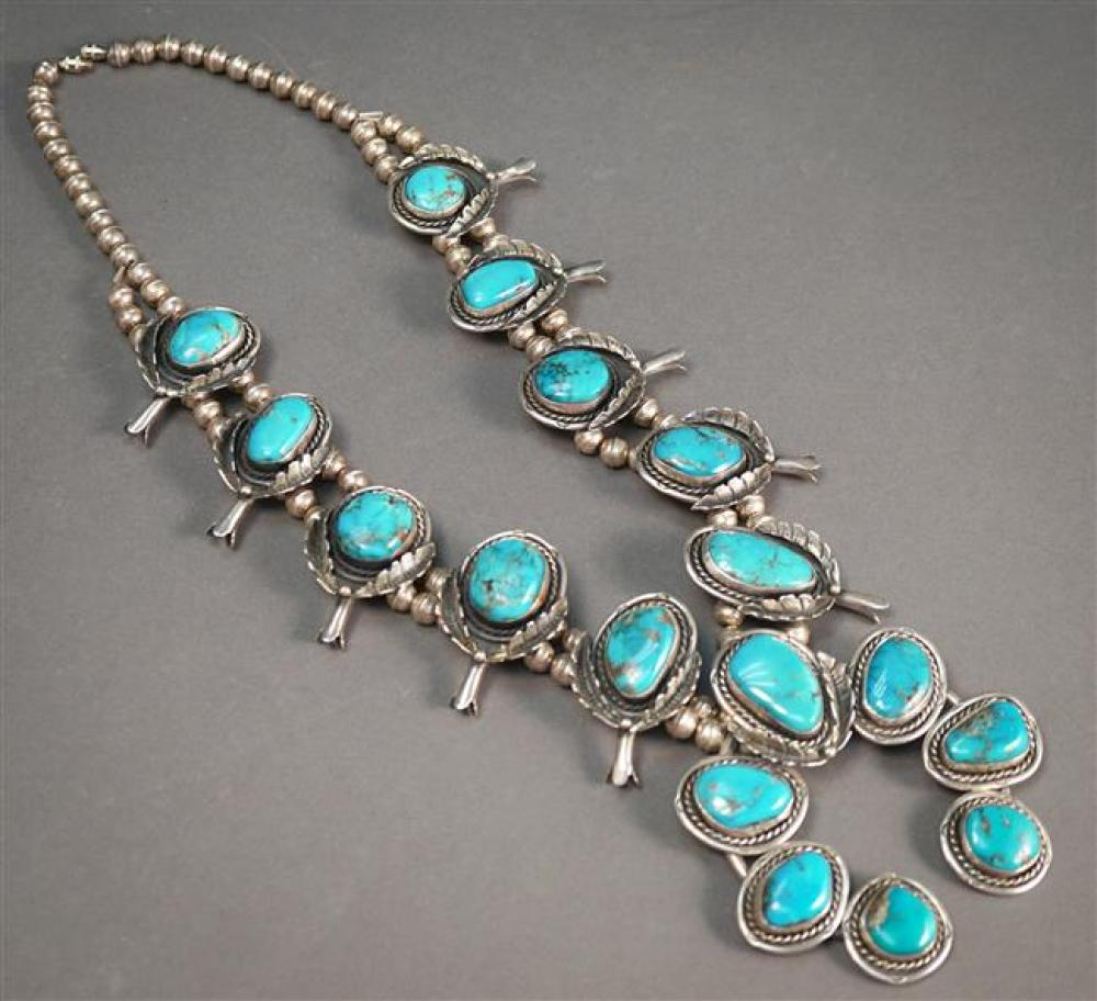 Southwest Silver and Turquoise Squash Blossom Necklace, Length of necklace: 25-3/4 in; Dimensions of Naja: 3-3/4 x 3-3/4 in