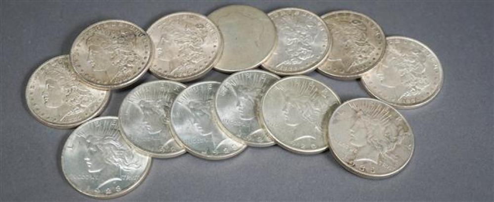 Six U.S. Peace Type Silver Dollars and Seven U.S. Morgan Silver Dollars
