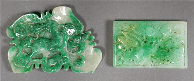 Two Chinese Apple Green Jade Carvings, Larger: Width: 4-1/2 in, Height: 3-1/4 in