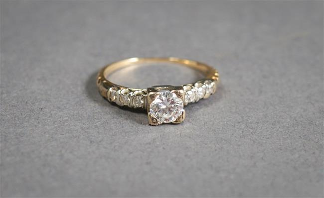 14-Karat Yellow-White-Gold and Diamond Ring, Center Diamond approx .40 ct, Size: 4
