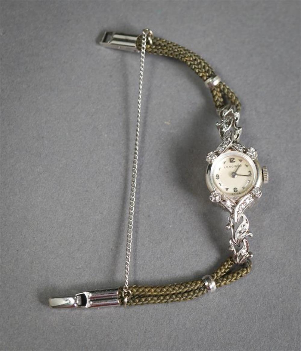 Ladies Longines 14-Karat White-Gold Diamond Manual Wind Wristwatch with Nylon Band