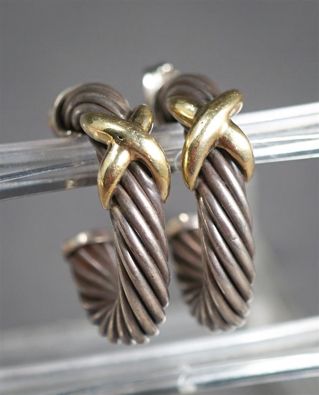 Pair David Yurman Sterling Silver and 14-Karat Yellow-Gold Mounted Earrings, L: 1 inch