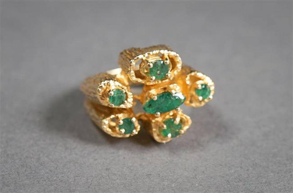 14-Karat Yellow-Gold Emerald Ring, Size: 5-1/4, 6.6 gross dwt
