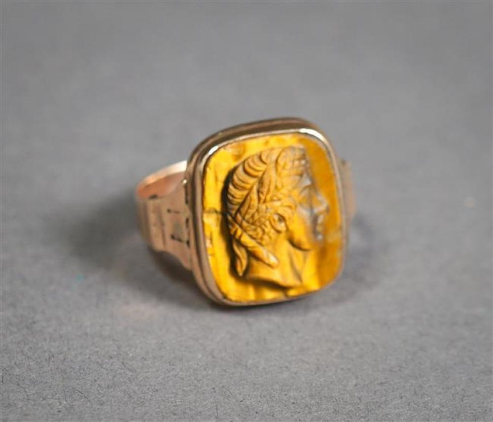 Tested 10-Karat Rose-Gold and Carved Tiger Eye Cameo Ring, 1.7 gross dwt, Size: 4-1/2