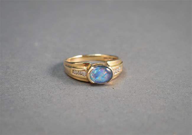 10-Karat Yellow-Gold, Opal Triplet and Diamond Ring, 2 dwt, Size: 7
