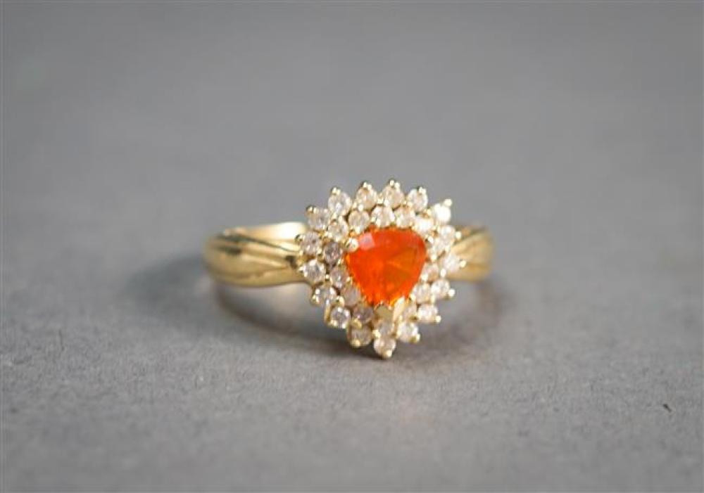 14-Karat Yellow-Gold, Fire Opal and Diamond Ring, 1.9 gross dwt, Size: 7
