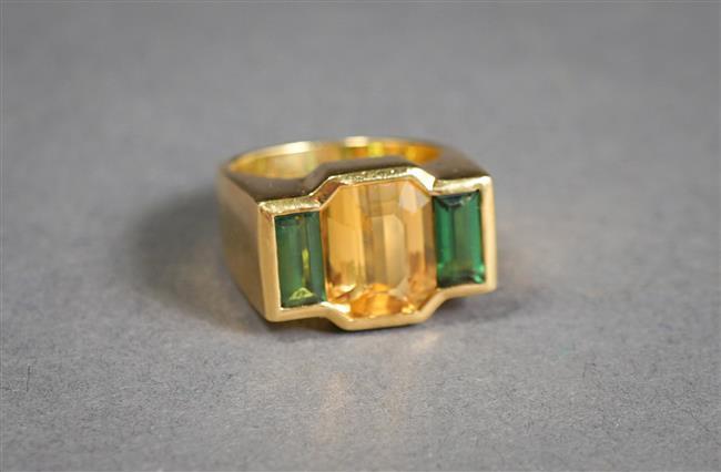 18-Karat Yellow-Gold, Citrine and Green Tourmaline Ring, 10.2 gross dwt, Size: 6-1/2