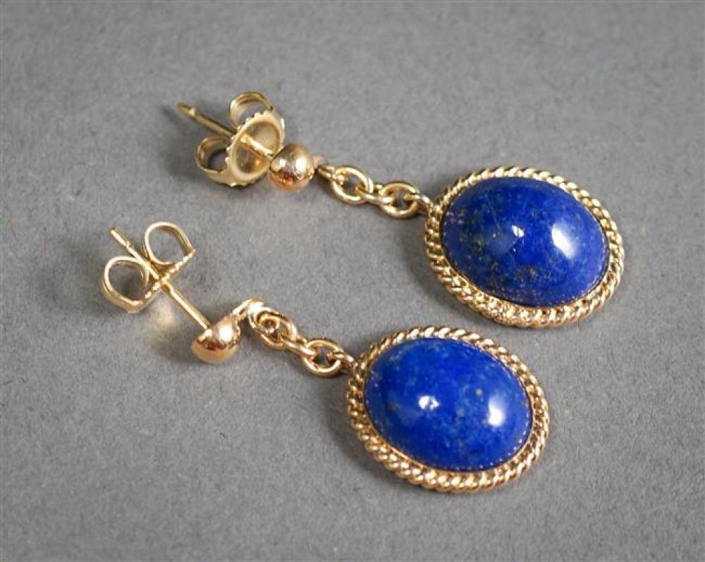 Pair 14-Karat Yellow-Gold Lapis Lazuli Pendant Pierced Earrings, L: 1-1/4 inches