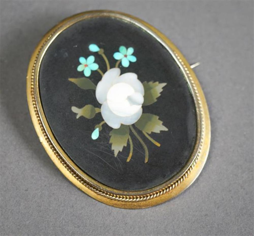 Gold Filled and Pietra Dura Brooch, 1-7/8 x 1-1/2 in