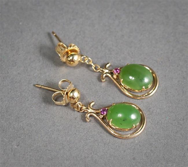 Pair 14-Karat Yellow-Gold, Green Hardstone and Ruby Pendant Pierced Earrings, L: 1-1/4 inches