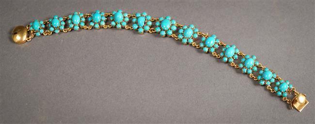 High Karat Yellow-Gold and Beaded Turquoise Bracelet, 11.2 gross dwt, Length: 7-1/8 in