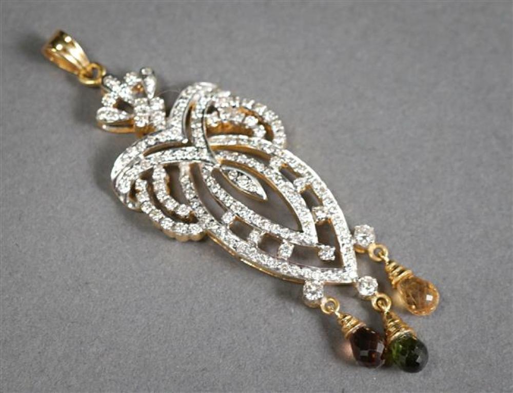 14-Karat Yellow-White Gold, Diamond and Gem Set Pendant, 7.5 gross dwt, Length: 2-1/2 in