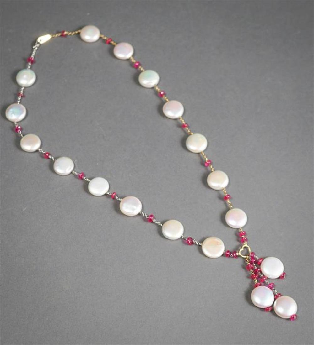 14-Karat Yellow-White Gold, Button Pearl and Ruby Necklace, Length: 21 in