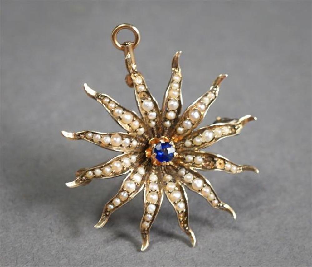 Edwardian 10-Karat Yellow-Gold, Blue Sapphire and Split Pearl Sunburst Pendant Brooch, 3.1 gross dwt