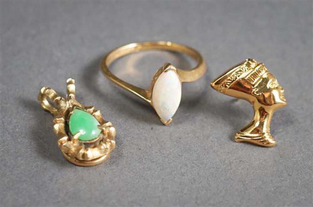 14-Karat Yellow-Gold Opal Ring, 14-Karat Yellow-Gold Hardstone Pendant and 18-Karat Gold Pharoah Pin, 3 gross dwt