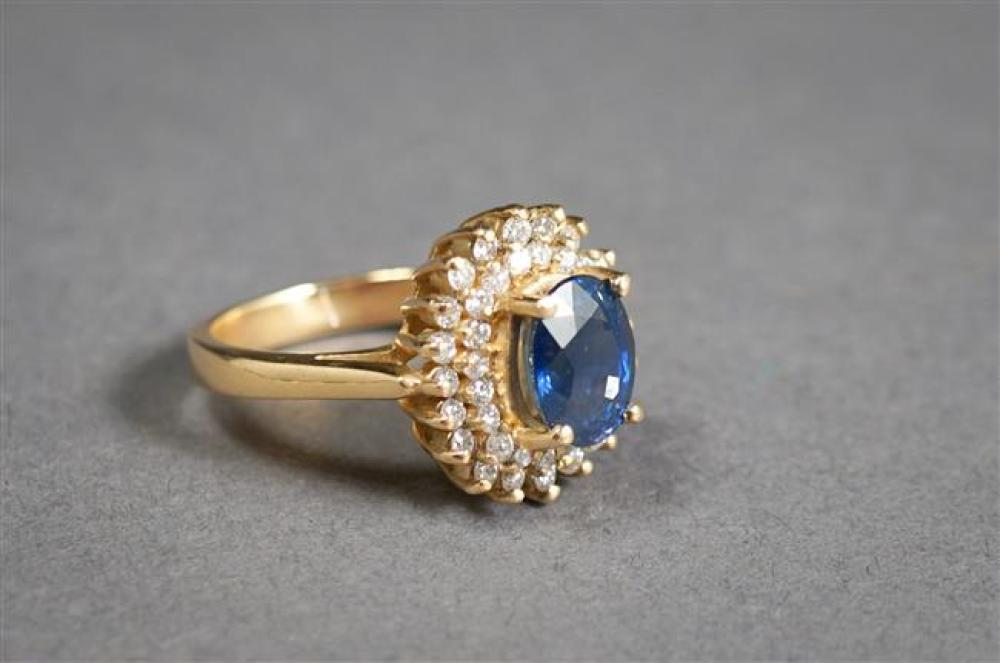 14-Karat Yellow-Gold, Blue Sapphire and Diamond Ring (sapphire approx 2.25 carats), Size: 6-1/4, 4.3 gross dwt