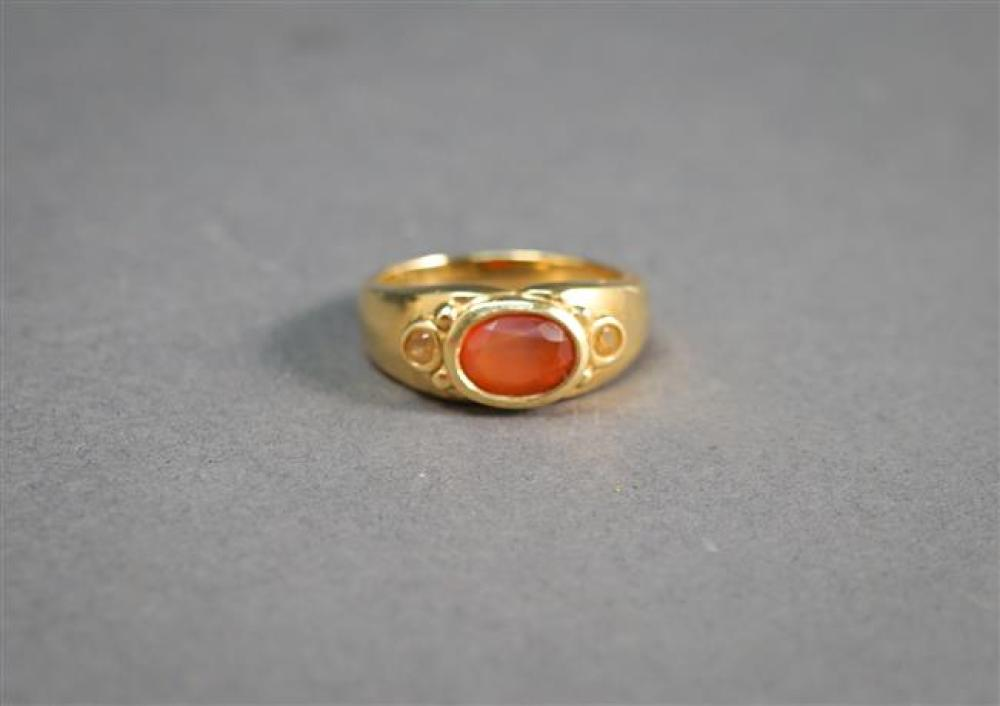 18-Karat Yellow-Gold and Citrine Ring, 4.6 dwt, Size: 7