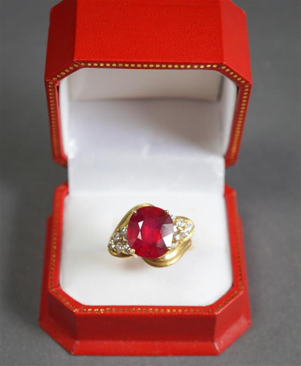 14-Karat Yellow-Gold, Ruby and Diamond Ring (ruby approx 7.25 carats), Size: 8-1/2; 6.8 gross dwt