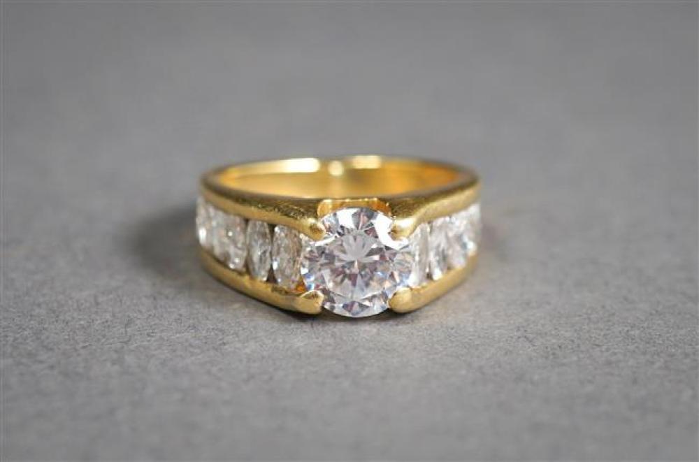 18-Karat Yellow-Gold, Cubic Zirconia and Diamond Ring, Size: 4; 3.2 gross dwt.