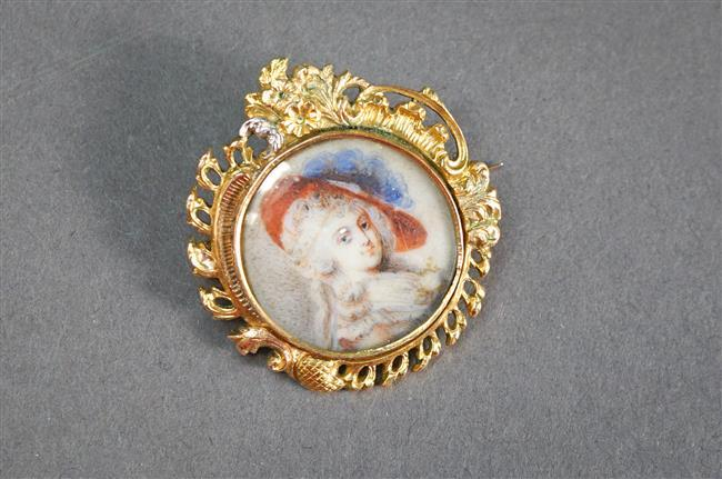 Continental Silver Gilt and Minature Portrait Brooch of a Lady Wearing a Plumed Hat, L: 1-3/8 inches